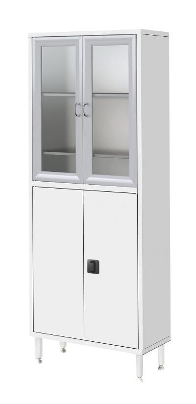 Шкаф металлический двухсекционный, двухстворчатый ШМ-02-МСК (верх – стекло, низ – металл)