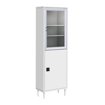 Шкаф металлический двухсекционный, одностворчатый ШМ-01-МСК (верх – стекло, низ – металл)